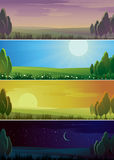 Four banners showing day cycle. Stock Photo