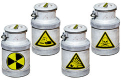 Four barrels with hazardous waste. Stock Photos