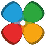 Four Basic Colors Cloverleaf Flower Royalty Free Stock Images