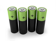 Four batteries. 3d render on white Stock Images