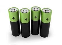 Four batteries. 3d render on white Vector Illustration