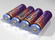 Four batteries Stock Photography
