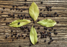 Four bay leaves and black pepper Stock Images