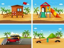Four beach scenes with different playground and parking. Illustration Royalty Free Stock Image