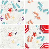 Four beach themed vector patterns Stock Photos