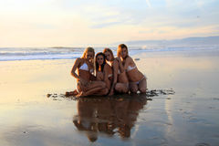 Four beautiful bikini models Stock Photo