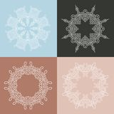 Four beautiful circular ornament on a colored background. Mandala. Stylized flowers. Vintage decorative elements. Royalty Free Stock Photo