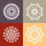 Four beautiful circular ornament. Mandala. Vintage decorative elements. Islam, Arabic, Indian, ottoman motifs. Royalty Free Stock Image