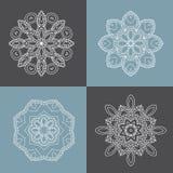 Four beautiful circular ornament. Mandala. Vintage decorative elements. Islam, Arabic, Indian, ottoman motifs. Royalty Free Stock Photos