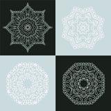 Four beautiful circular ornament. Mandala. Vintage decorative elements. Islam, Arabic, Indian, ottoman motifs. Stock Photo