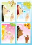 Four Beautiful Drinks. Four Beautiful ladies drinking different delicious drinks Stock Images
