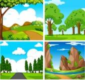 Four Beautiful Green Natural Landscape stock illustration