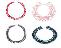 Four beautiful necklaces from beads Royalty Free Stock Photography