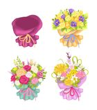 Four Beautiful Packing and Cute Flowers Color Card. Four beautiful packing and cute flowers, color card, vector illustration isolated on white background, varied Royalty Free Stock Images