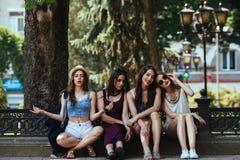 Four beautiful young girls Stock Photos