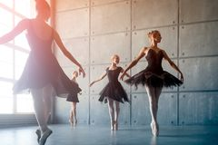 Four beautiful ballerinas stock image