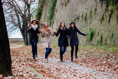 Four beautiful young women smiling and walking Royalty Free Stock Images