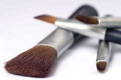 Four beauty brushes Stock Photos