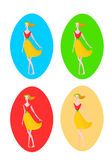 Four beauty elegant girls vector images. Stock Photography
