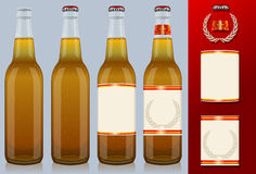 Four beer bottles with label Stock Photo