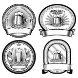 Four beer labels (black and white) Stock Images