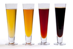 Four Beers in Glasses Royalty Free Stock Image