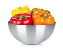 Four bell peppers in a bowl Royalty Free Stock Image