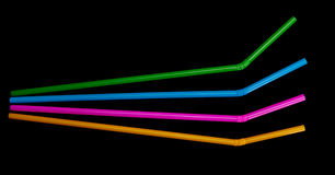Four bendy drinking straws isolated on black Stock Photography