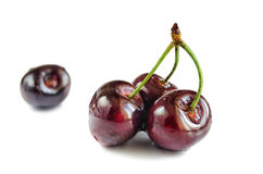 Four berries of sweet cherry on a white hum noise. Royalty Free Stock Images