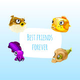 Four best friends fish with frame for text. Fun card on a blue background Stock Photos