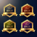 Four best quality product label design. Vector Stock Photo