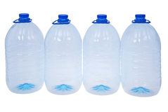 Four big bottles of water (Clipping path) Royalty Free Stock Photos