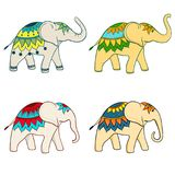 Four big indian elephants in variously. Four big indian elephants in various poses and multicolour patterns. can be used both together and separately Stock Images