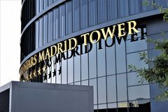 Cuatro Torres Financial Center, Madrid. Four big towers conform this financial trade center, lodging many companies who need to be in an strategic place stock image