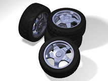 Four big wheels with tyres Royalty Free Stock Photo