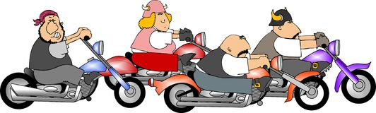 Four bikers stock illustration