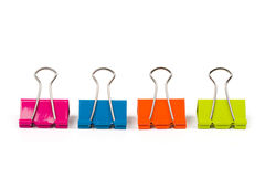 Four binder clips Stock Photos