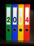 Four binders with 2014 digits Royalty Free Stock Photography