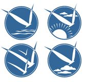 Four bird symbols Royalty Free Stock Images