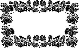 Four black birds frame on white. Illustration with four black birds frame on white Royalty Free Stock Images