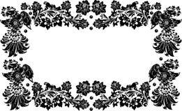 Four black birds frame on white Royalty Free Stock Images
