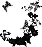 Four black butterflies and flowers Royalty Free Stock Photos