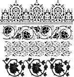 Four black floral decoration collection Stock Images