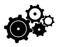 Four Black Gears Royalty Free Stock Photos