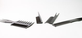 Four Black Hair Comb Royalty Free Stock Images