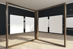 Four black mock up poster gallery, art exhibition. Black brick wall poster gallery with a wooden floor. Vertical empty posters hanging on glass and wooden walls Royalty Free Illustration
