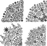 Four black quadrant designs collection. Illustration with black decorations on white background Stock Photo
