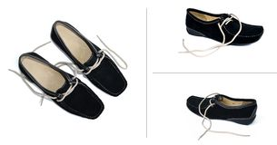 Four black shoes. Four black leather shoes for woman Stock Photo