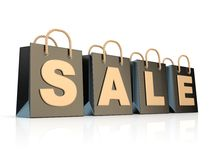 Four, black shopping bags with word SALE. 3D Stock Photo