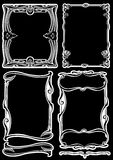 Four Black And White Art Deco Frames. Royalty Free Stock Photos